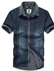 Men's Pure Short Sleeve Top , Cotton Casual
