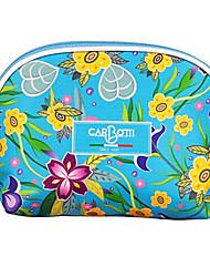 Light Blue Flower Pattern Beauty Cosmetic Bag
