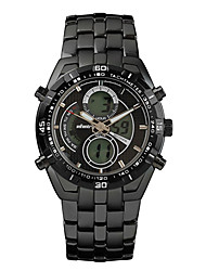 New Infantry Military Men's LCD Chronograph Sport Quartz Stainless Steel Waterproof Watch (Black-Silver)