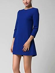 tripulação pescoço das mulheres mini vestido, algodão / spandex / poliéster azul / preto ocasional / trabalho