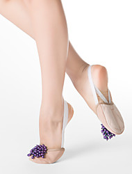 Fabric Half Ballet Slipper With Purple Imitation Pearl & Suede Leather Out Sole