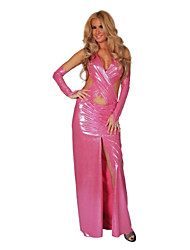 Hot pink  Polyurethane Leatherr Sexy Party Costume