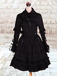 Devil Queen Long Sleeve Knee-length Black Cotton Gothic Lolita Dress