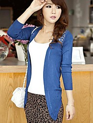 Sexy Regular Cardigan Blue Red Black Yellow Purple Long Sleeve Cotton Others Spring Fall Sheer Thin Micro-elastic
