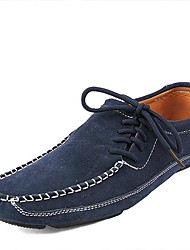 Men's Shoes Casual Leather Boat Shoes Blue/Green
