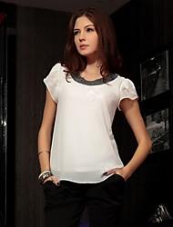 Women's Pink/White Blouse Short Sleeve
