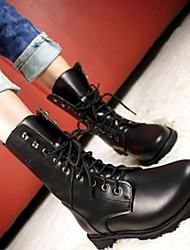 Calçados Femininos - Botas - Arrendondado - Salto Grosso - Preto - Couro - Casual