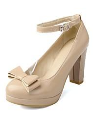 Bombas Chunky Plataforma dedo del pie talón del cuero de patente Zapatos de mujer (más colores)