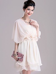 Women's Cape Type More Wear Sleeveless Chiffon Dress