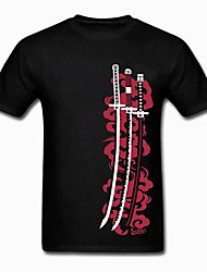 One Piece Three Sword Of Roronoa Zoro Black Cotton Short Sleeve Cosplay T-Shirt