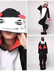Kigurumi Pajamas Devil / Monster Leotard/Onesie Halloween Animal Sleepwear Black/White Patchwork Coral fleece Kigurumi UnisexHalloween /