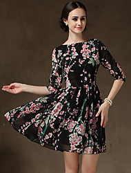 s-ray-Rundhalsausschnitt Blumendruck knielangen Kleid der Frauen