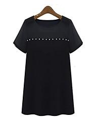 Damen Solide Einfach Lässig/Alltäglich T-shirt Frühling / Sommer Kurzarm Weiß / Schwarz Dünn