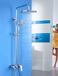 Contemporary Shower System Rain Shower / Handshower Included with  Ceramic Valve Single Handle Three Holes for  Chrome , Shower Faucet