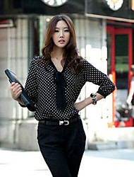 Donna V Neck Polka Dots Stampa T-shirt manica lunga in chiffon