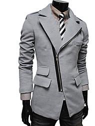 lapela pescoço zipper tweed sobretudo dos homens Hansun