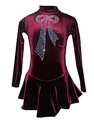 Robe de Patinage Femme Manches longues Patinage Jupes & Robes Robe de patinage artistique Respirable / Elastique Velours VioletTenue de