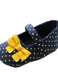 Cotton Girl's Flat Heel Round Toe and Mary Jane Flats with Bowknot and Polka Dot Shoes