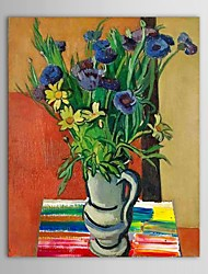 Hand Painted Oil Painting Floral Blue Vase Flower with Stretched Frame