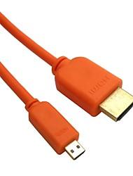 Micro HDMI mâle vers HDMI v1.4 mâle orange, dorée