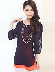 Women'S Half Sleeve O Neck Bottoming Loose Chiffon Blouse