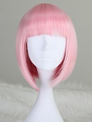 Cheap Women Synthetic Wig Girl's Pink Capless Fashion Short Straight Bob Light Wig with Full Bang