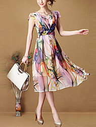 Ouli Women's Bohemian A-Line Chiffon Long Dress