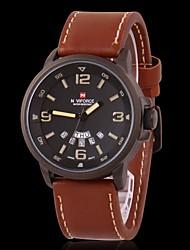 мужские часы военный водостойкий календарь кожаный ремешок