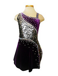 Skating Wear/Skating Dress, Women's/Girl's Purple Velvet Figure Skating Dress(Assorted Size)