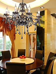 8 Lights,Modern Chandelier In Grey Color For Home , Crystal & Glass
