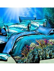 Ailianna 4 Piece 3D Dolphin Print Duvet Set