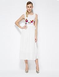 Women's White Dress , Print/Lace Sleeveless