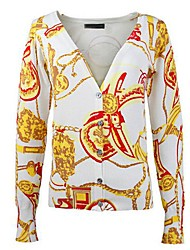 Women's Fashion Winding Chain Pattern V-Neck Cardigan Knit Sweater
