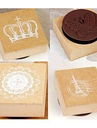 fleurs tour effel cru de la Couronne timbres bois scrapbooking (4-pack)