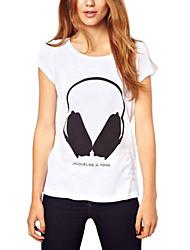 Vrouwen Gedrukt in Big Black Headset Patroon T-shirt