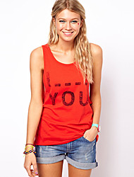 SouthStoreA Women's I Blank You Word Print Pure Cotton Vest