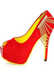 plataforma de tacón de aguja de las mujeres del ante bombea los zapatos (más colores)