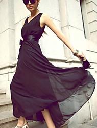 Frauen mit V-Ausschnitt Schwingen Böhmen Vest Reines Midi dünnes Kleid