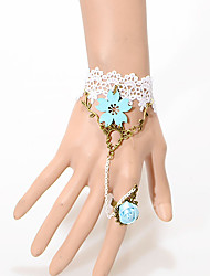 Frauen Light Blue Rose Pattern White Lace Bracelet