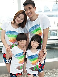 Family's Fashion Contracted Beach Wind Short Sleeves Parent Child Clothing Sets