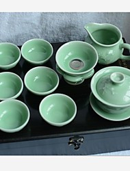 LvShu® LongQuan Celadon 1pc China Tea Tureen/6pcs Tea Cups/1pc Justice Cup/1pc Filter/1pc Filter-Holder Plum Green