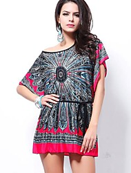 Women's Casual/Daily Loose Dress,Print Round Neck Above Knee Short Sleeve Multi-color Polyester Spring / Summer