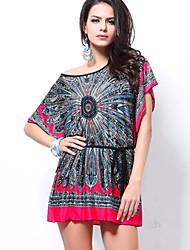 o carimbo nacional vestido de seda manga morcego cintura tamanho vestido novo das mulheres hanyiou®