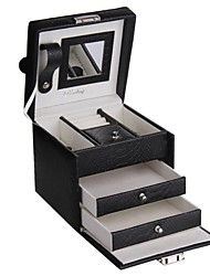 Fashion Black Faux Leather Jewelry Box Travel Case for Rings Bracelets Necklace and Pins