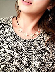 moda siyun high end gardênia em forma de colar curto de metal