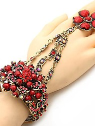 Fashionable National Hollow Out Flower Style Bracelet With Ring(More Colors)