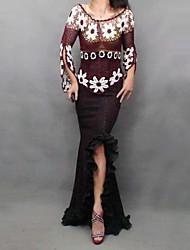vintage da moda sexy assimetria trecho sereia maxi saia das mulheres