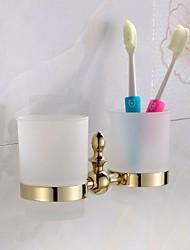 Gold Finish Brass Material Toothbrush Holder