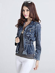 Women's Blue Denim Jacket , Casual/Plus Sizes Long Sleeve