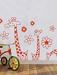 Createforlife® Cartoon Orange Giraffe Flowers Kids Nursery Room Wall Sticker Wall Art Decals
